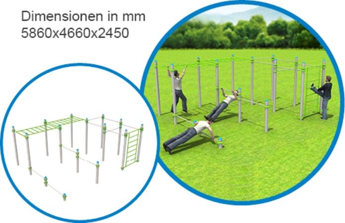 2x Hangelstrecke & Sprossenwand & 10 Stangen - FreeGym Pro - Street Workout & Calisthenics