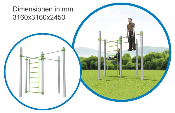Sprossenwand & 3 Stangen kompakt - FreeGym Pro - Street Workout & Calisthenics