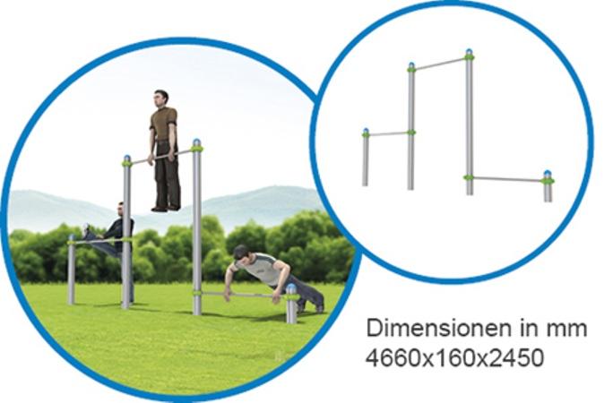 Dreifach Stangen - FreeGym Pro - Street Workout & Calisthenics