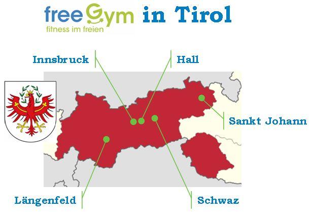 FreeGym - Landkarte Anlagen in Tirol