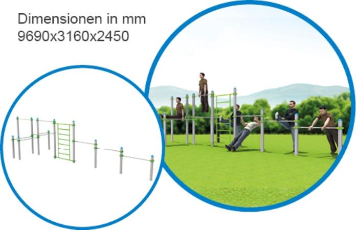 Sprossenwand & 5 Stangen lang - FreeGym Pro - Street Workout & Calisthenics