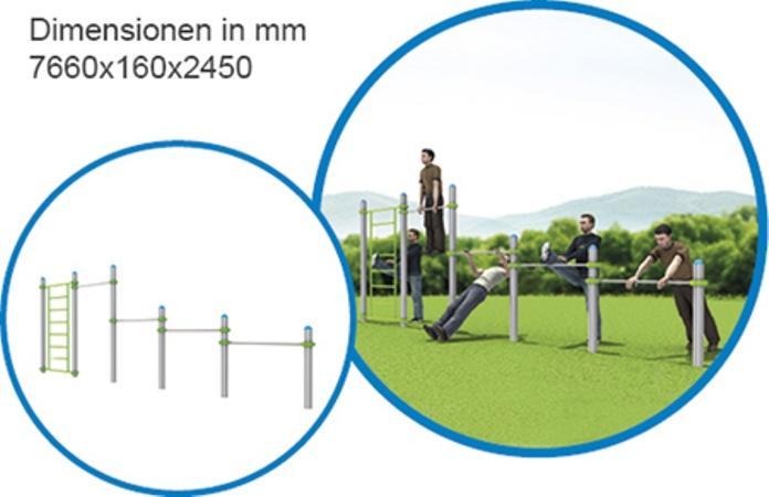 Sprossenwand & 4 Stangen lang - FreeGym Pro - Street Workout & Calisthenics