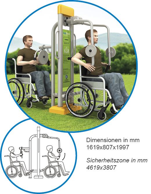 Brustkombination Brustpresse und Schwenkboard - FreeGym Barrierefrei