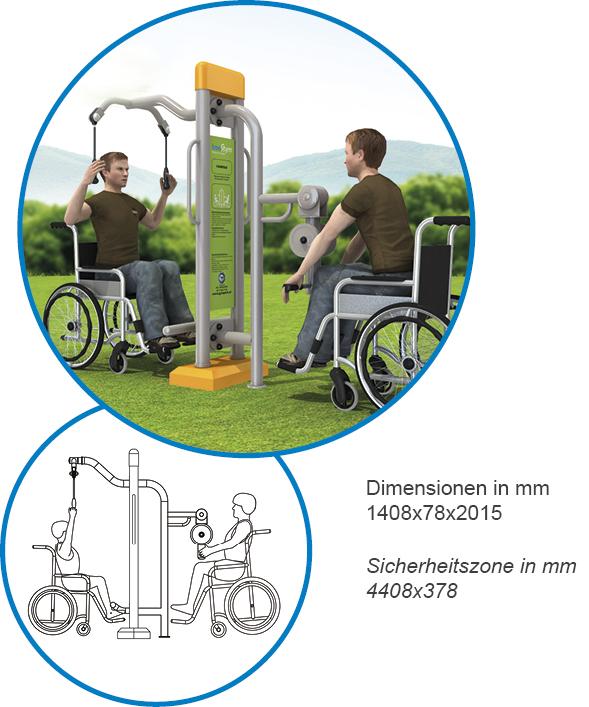 Rückenkombination Latzug und Rudergerät - FreeGym Barrierefrei